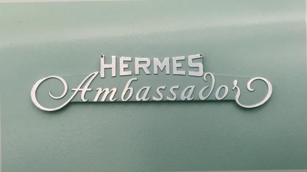 "Hermes ""Ambassador""  the front (logo)... One of the best and more elegant logo designs."