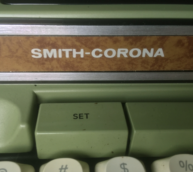 "Smith-Corona ""Coronamatic 2200"" front maker logo, left side..."