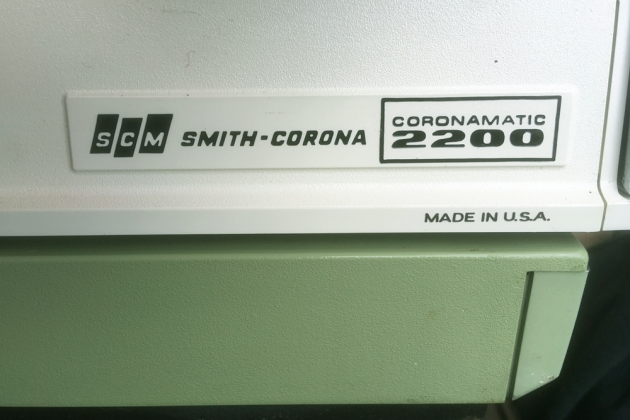 "Smith-Corona ""Coronamatic 2200"" back detail, make/model logo, right side..."