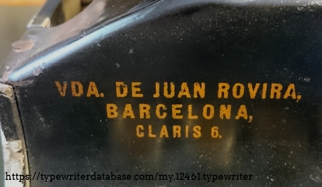 The retailer seems to be the widow of some Juan Rovira, from Barcelona