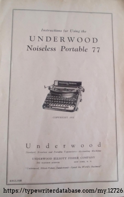 Original Underwood instruction manual front cover