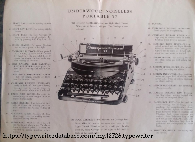 Original Underwood instructions with component ID