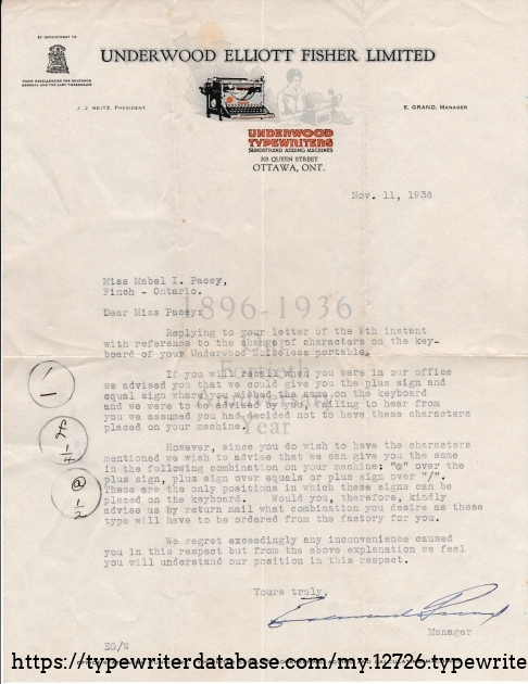 Original letter November 11, 1936 from  Underwood Elliott Fisher Limited to Miss Mabel Pacey concerning key changes requested.  Written on 40th anniversary letterhead