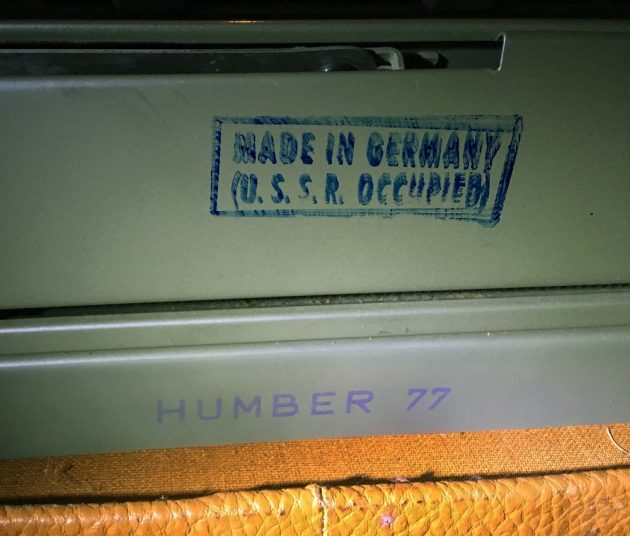 "Optima ""Humber 77"" stamp on the back..."