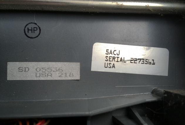 "Smith Corona ""SL 450"" serial number location..."