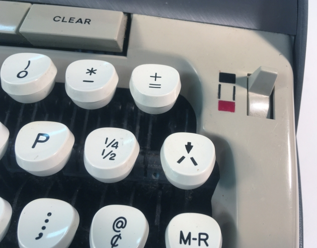 """Smith Corona """"Galaxie Deluxe"""" from the keyboard (detail of the un-jam key)..."""