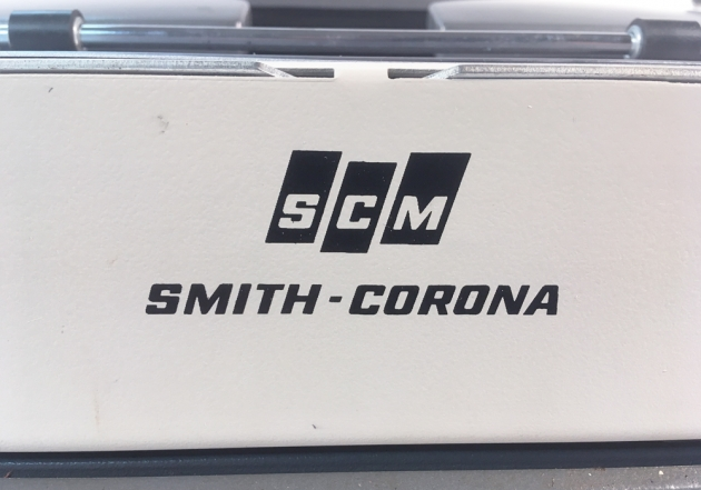 """Smith Corona """"Galaxie Deluxe"""" from the back (detail)..."""