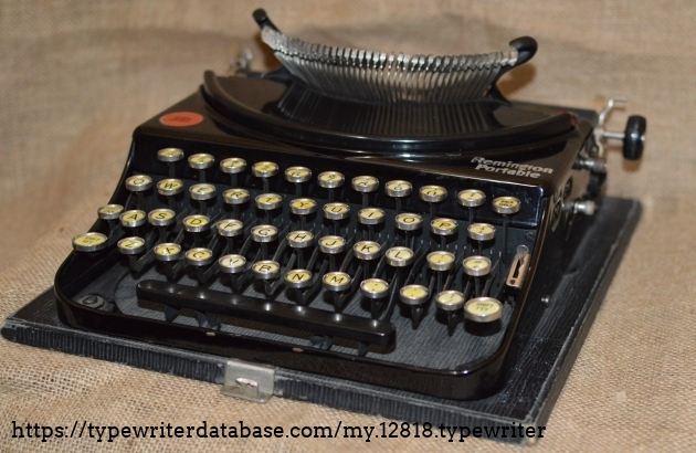 Right front and side  with keys in the ready to type position