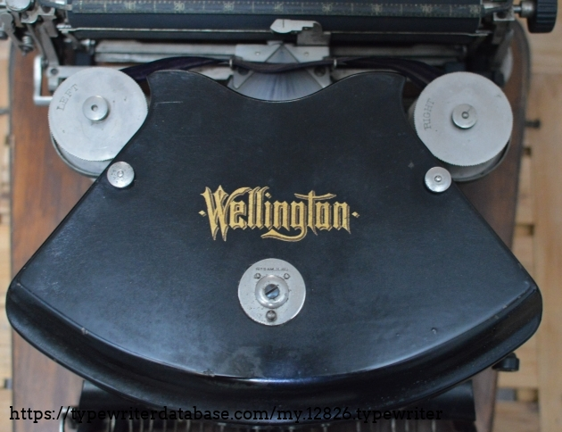 Wellington  decal  on  hood and ribbon spools marked Left and Right