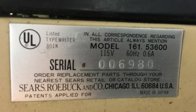 "Sears ""Graduate"" serial & model number location..."