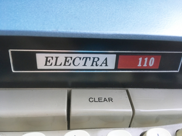 "Smith Corona ""Electra 110"" model logo on the front..."