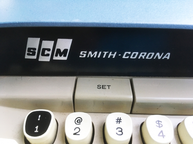 "Smith Corona ""Electra 110"" maker logo on the front..."