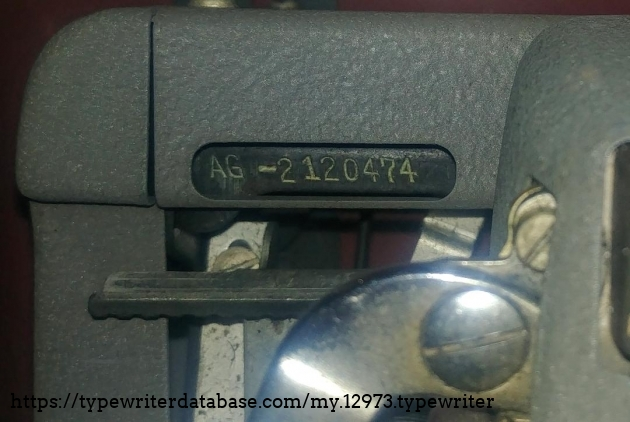 Serial  number AG-2120474