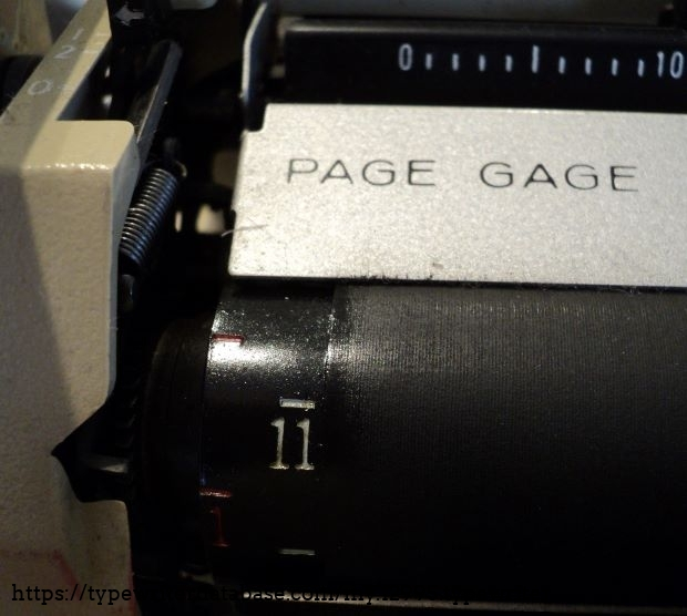 PAGE GAGE feature helps keep bottom margins uniform by measuring the distance remaining at the bottom of the type sheet. Using the gauge requires you to turn the platen until the number indicating the length of the paper shows on the gauge under SET. As you approach the end of the paper, the number under END indicates the number of inches remaining for the bottom margin.