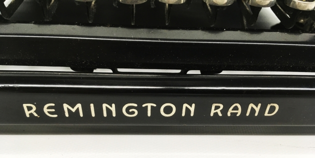 "Remington ""Model 5 Streamline"" from the front (logo detail)..."