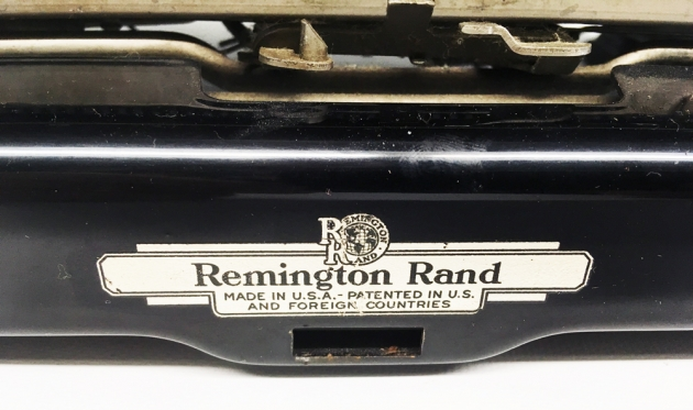 "Remington ""Model 5 Streamline"" from the back (detail)..."