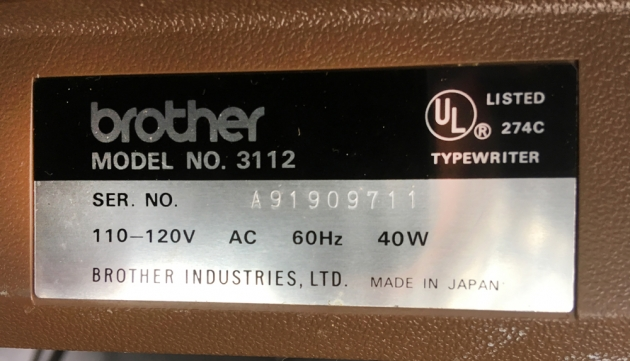 "Brother ""Profile Electric 12"" serial number location..."