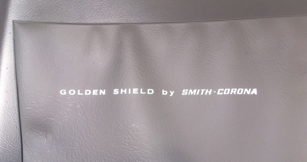 "Smith Corona ""Golden Shield Diplomat"" detail from the inside of the case..."