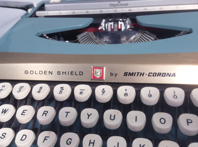 "Smith Corona ""Golden Shield Diplomat"" from the right side (detail)..."