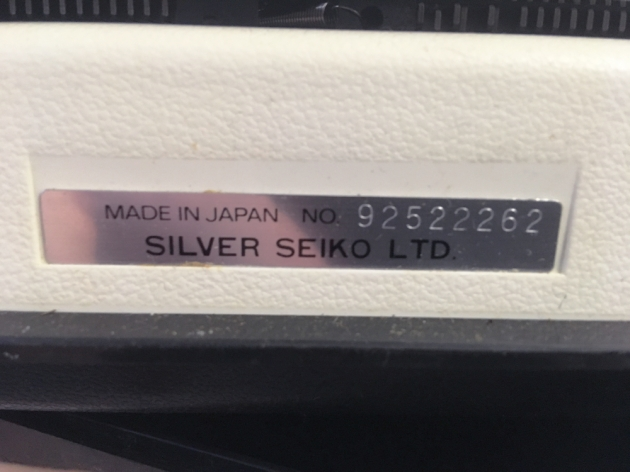 "Silver Reed ""813"" serial number location..."