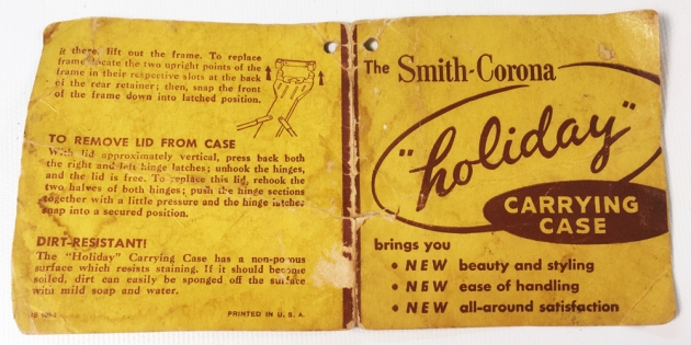 "Smith Corona ""Sterling"" tag for the ""Holiday""case... (when was the last time you saw one of these?)"