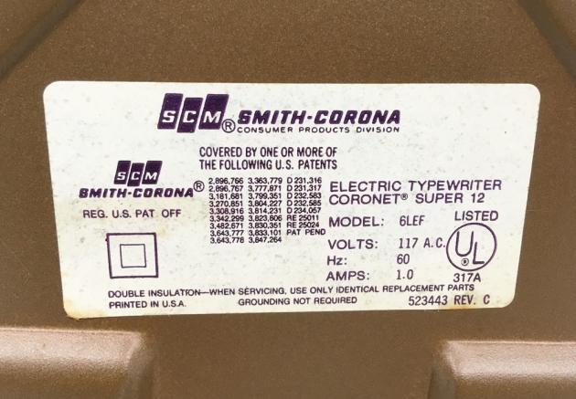 """Smith Corona """"Coronet Super 12 Coronamatic"""" from the bottom (detail)..."""