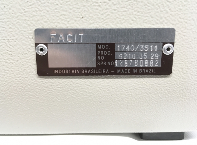 "Facit ""1740"" from the back (detail of serial number location)..."