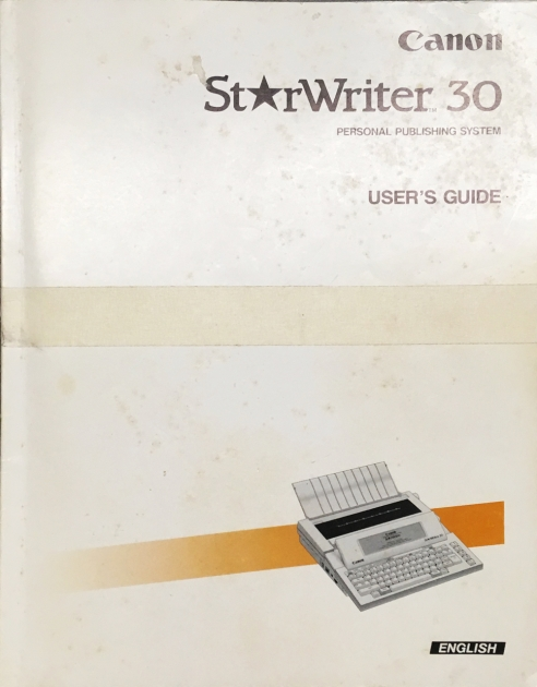 "Canon ""StarWriter 30"" with the book, always nice to get the book."