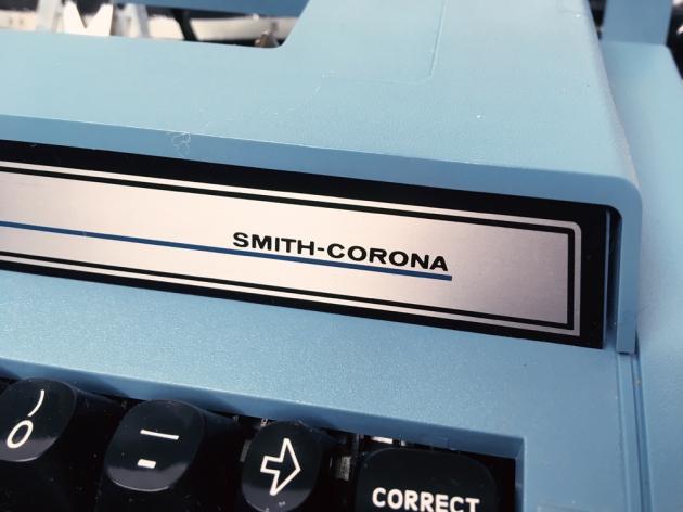 "Smith-Corona ""Electra XT"" from the maker logo right side..."