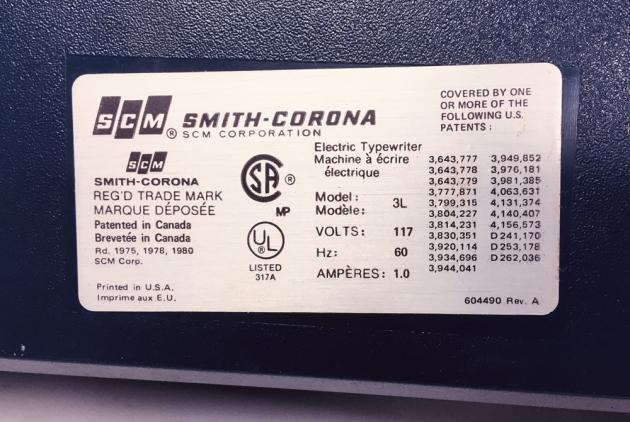 """Smith-Corona """"Electra XT"""" from the bottom (detail)..."""