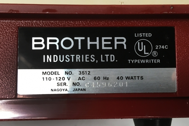 """Brother """"3512"""" serial number location..."""