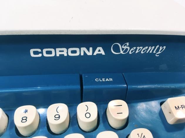"""Smith Corona """"Corona Seventy"""" logo on the right side..."""