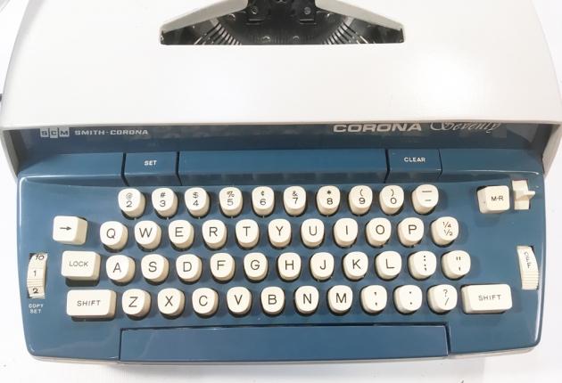 """Smith Corona """"Corona Seventy"""" from the keyboard..."""