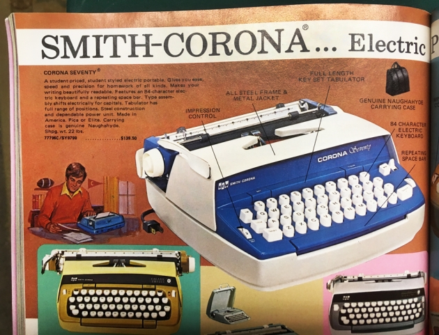 "Smith Corona ""Corona Seventy"" page from a catalog listing this typewriter..."