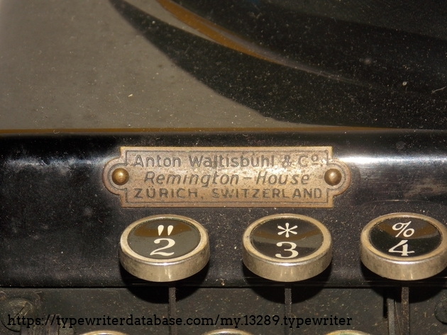 The machine was imported to Switzerland, and sold in Zürich, in Anton Waltisbühl's shop, in 1937.