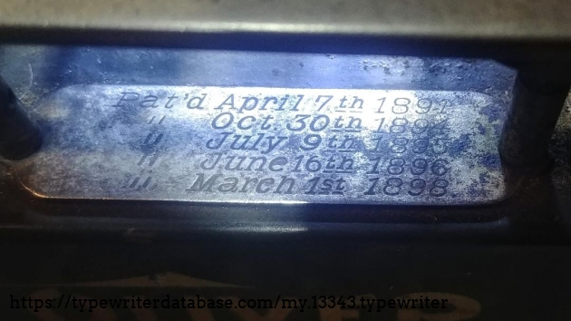 Engraved patent plate with last patent as March 1 1898