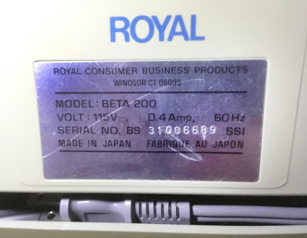 "Royal ""BETA 200"" serial number location..."