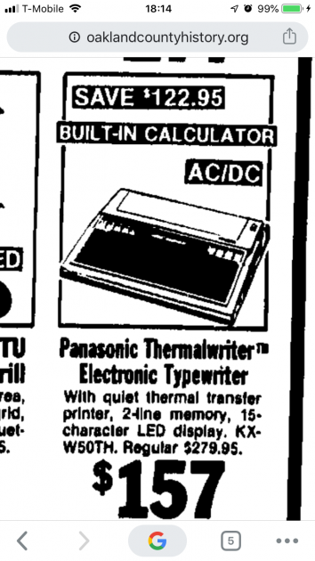 Newspaper ad from 1986