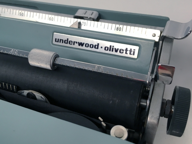 """Underwood-Olivetti """"Lettera 22""""  from the right side (logo detail)..."""