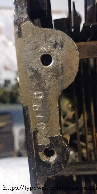 Partial serial number stamping frame  left side  near foot