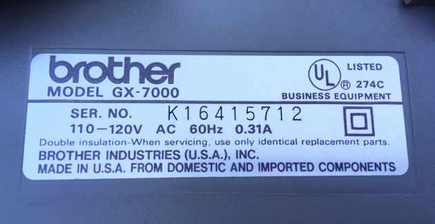 "Brother ""GX-7000"" serial number location..."