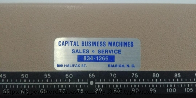 Servicing label from  Capital Business Machines 809 Halifax Street Raleigh, NC