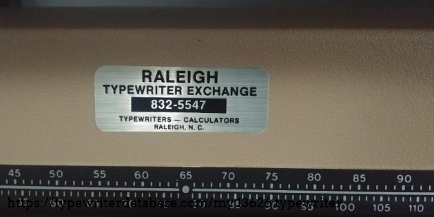 Servicing label: Raleigh Typewriter Exchange, Raleigh NC.  Was located at 204 W. Peace Street in Raleigh