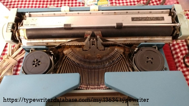 Close-up of type basket and platen.