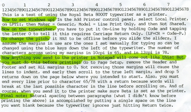 Some helpful instructions on how to use the Beta8000 as a lineprinter with Windows.