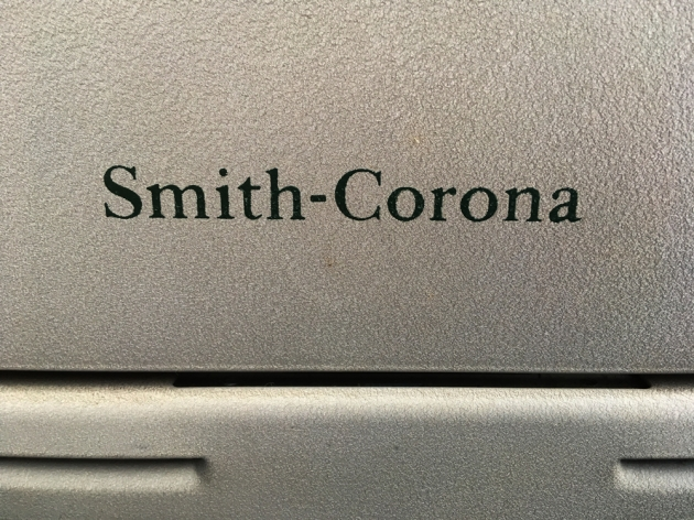 """Smith Corona """"Sterling"""" from the back (logo detail),,,"""