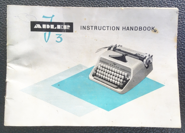 """Adler """"J3""""  manual that came with it..."""