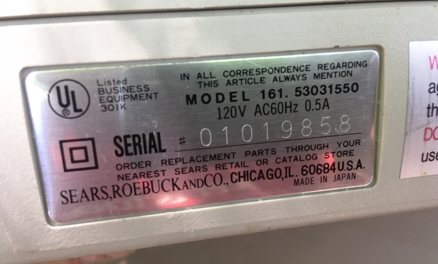 "Sears ""SR2000"" serial number location..."