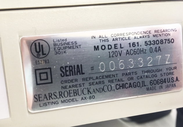 "Sears ""Electronic Scholar"" serial number location..."