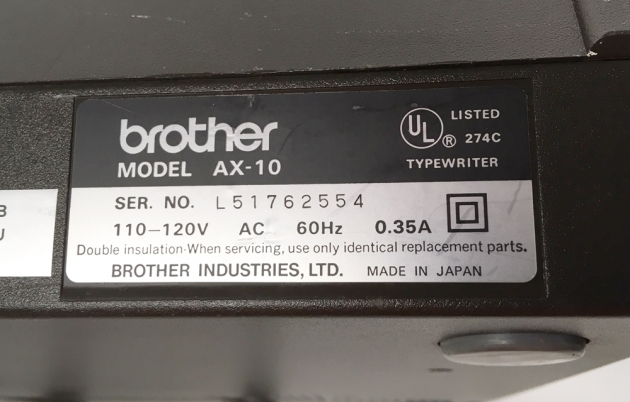 """Brother """"AX-10""""  serial number location..."""